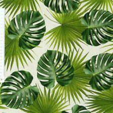 Baumwollstoff Stoff Dekostoff Digitaldruck Palmen Blätter weiß grün
