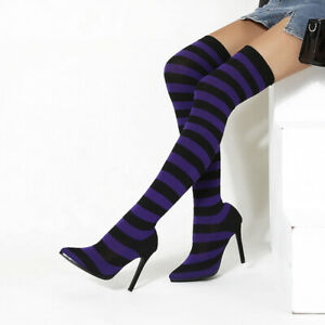 Sexy Striped Over The Knee Stretch Sock Boots Pointed Stiletto Heels Women Shoes