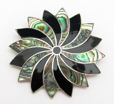 Vintage Sterling Silver Abalone Pendant Brooch Necklace Black Shell Bold Mexico