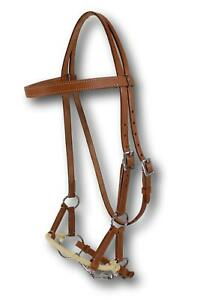 "D.A. Brand Natural Leather Browband Side Pull with 5.5"" Snaffle Bit Horse Tack"