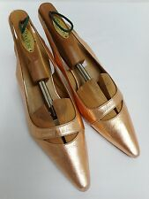 Gorgeous pink metallic shoes by Betty Jackson kitten heels all leather 39 UK6