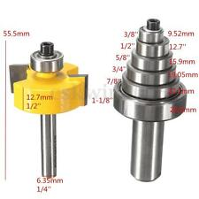 """Rabbet Router Bit with 7 Bearings Set -1/2""""H - 1/4"""" Shank For Solid Wood"""