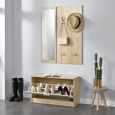 en.casa® Garderobenset Garderobe Schuhschrank Spiegel Paneel Schuhkipper Set