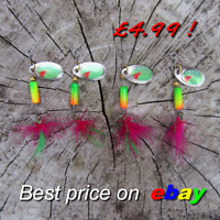 4 HENGJIA fishing Purple Feather tail trout savage spinner pike perch bait gear