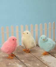 Set/3 Bethany Lowe Pastel Furry Chicks Easter Spring Decoration Figurines Ducks