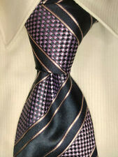 GIORGIO ARMANI • Men's 100% Silk Necktie • Luxury • STRIPED • PURPLE • EUC RARE
