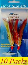 10 Packs 4/0 Rockfish Cod Feather 2 Hooks Red-Yellow Feather Bait Rigs