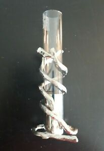 """Global Views Unique Twisted Tree Bud Vase Silver with Glass Insert India 6"""""""