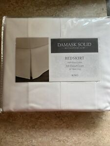 """Charter Club Damask Solid KING Bed Skirt 16"""" Drop 500 TC 100% pima Cotton White"""