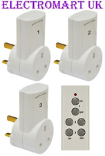 3 WIRELESS REMOTE CONTROL MAINS 13A PLUG IN SOCKETS SOCKET PLUGS ADAPTORS WHITE