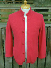 FOLK Rasperry Red Thick Cotton Knit Button Up Cardigan (3)