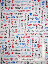 Kitty Cat Meow Purr Whiskers White Cotton Fabric HG&Co Cat's Meow By The Yard