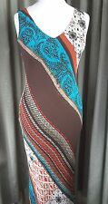 Laura Ashley 100% Silk Stretchy Traveller Tropical Dress UK12 EU40