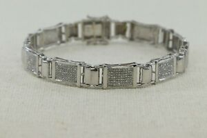 Sparkling White Micro Pave 3.12CT Cubic Zirconia & Real 925 Silver Men Bracelet