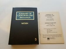 Summary of California Law Ninth Edition Vol 3 Hardcover Book Witkin Pocket Part