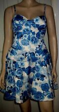 MISS SELFRIDGE Blue White Floral Layered Waist Party Cocktail Dress Size 14