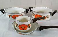 Vintage Sanko Ware Japan Show Pans Enamel Cookware Set Pots Pans Orange Poppies
