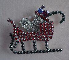 Kirks Folly Santa'S Christmas Sleigh Pin In Silver Tone
