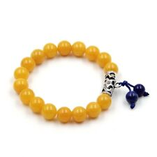10mm Yellow Gemstone Lapis Lazuli Tibet Buddhist Prayer Beads Mala Bracelet