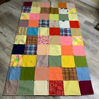 Vintage Handmade Patchwork Quilt Multicolor Squares Blanket Stitch Binding 66x39