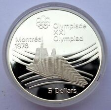Canada 5 Dollars 1976 Silver coin Proof Olympic village Montreal Olympics Games