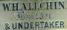 Antique Brass Victorian Funeral Funerary Undertaker Sign W.H. Alchin