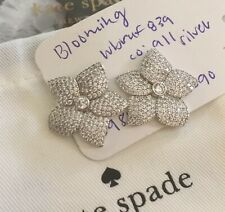 STUNNING Kate Spade Rhodium Plated BLOOMING Pave Flower Statement Earrings $98