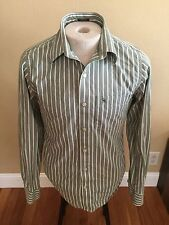 Abercrombie & Fitch Men's Light Green & White Striped Button Front Shirt Small