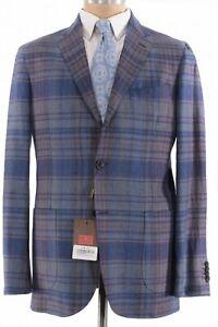 Etro NWT Sport Coat Size 44R In Blue W/ Multicolor Plaid Hemp & Wool $1,595
