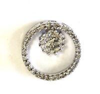 14k white gold .285ct diamond eternity circle pendant charm 2g estate vintage