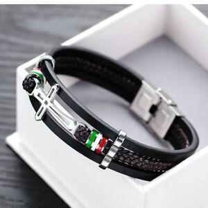 Men's Black Braided Leather Stainless Steel Bracelet Cross Fashion Wristband.