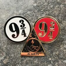 HARRY POTTER ENAMEL PIN BADGE SET | DEATHLY HALLOWS PLATFORM NINE THREE QUARTERS