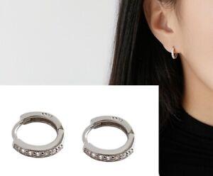 925 Stamped Sterling Silver CZ lday Ear Huggie Hoop Earrings Gift Box 8mm E3