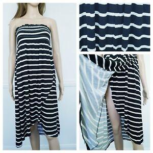 ❤️NEW LOOK black white striped jersey smocked sleeveless dress size 16 002