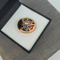 Vintage Tara Ware Book Of Kells Enamel Gold Tone Celtic Irish Brooch Kilt Pin