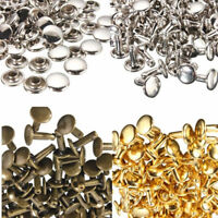 100Sets Brass Material Double Cap Rivets Stud Leathercraft DIY Crafts Supplies