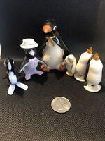 Lot Of 6 Japan, Plastic Glass, Metal Penguin Lot