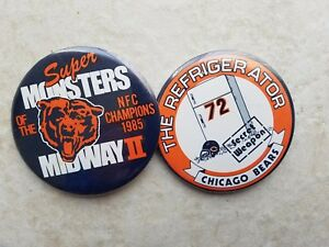 """c.1986 Chicago Bears 3.5"""" PIN / BUTTON pair : THE REFRIGERATOR & Monsters Midway"""