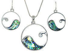 "Rhodium Plated Alloy,Abalone Shell and Crystal""OCEAN WAVE""Necklace Earrings Set"