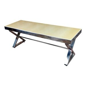 Beautiful Designer Chrome Coffee Table with Lacquered wooden top