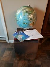 "NOS Vintage 1969 RAND McNALLY 12"" WORLD PORTRAIT GLOBE W/ATLAS in ORIGINAL BOX"