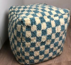 Light Blue and white Moroccan Berber wool checkered pouf! Floor cushion