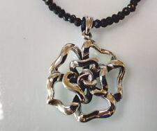 Sterling Silver Rose/Flower Pendant Black Spinel Beaded Necklace: Length 39  cm.
