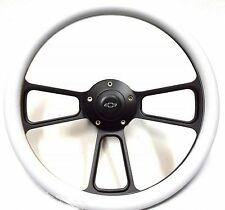 "1967-1968 Chevy II, Nova  14"" Billet White  Steering Wheel  Chevy Horn & Adapter"