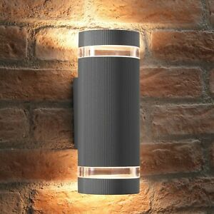 Auraglow IP44 Outdoor Double Up & Down Wall Light - LED Bulbs Included - SILVER