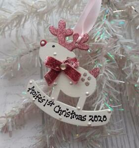 Personalised Baby/ 1st /First Christmas Reindeer Glitter Bow Tree Gift Bauble