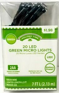 Holiday Time 20 LED Green Micro Lights Battery Powered
