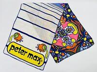 "Peter Max RARE Vintage Silk Scarf 1960s 1970s 14""x22"""