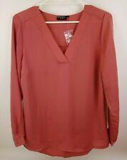 Jeanswest Womens Lightweight V- Neck Dusty Cedar Shirt Sizes 12 / 14 Long Sleeve