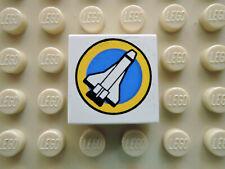 Lego 1 x Fliese 3068px27 weiß 2x2  bedr. Kreis Raumfähre Shuttle 6456 6455 6461